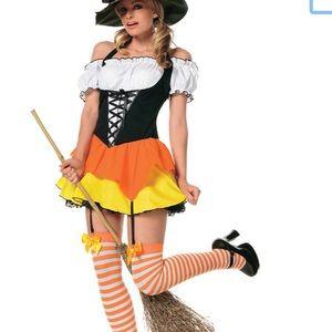 Sassy candy corn witch costume